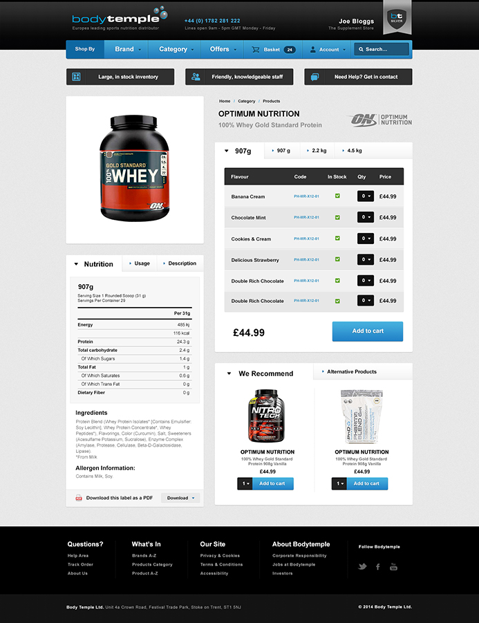 Bodytemple E-Commerce Website